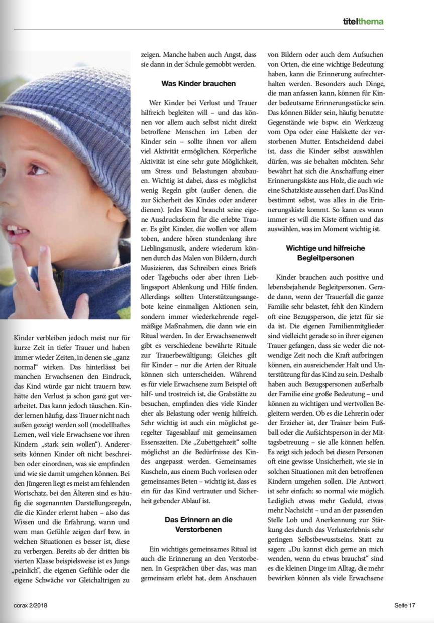 Informationen über Trauer Bei Kindern Seminare Vorträge Workshops